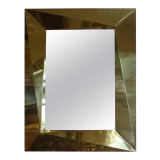 Italian Brass Modernist Geometric Mirror