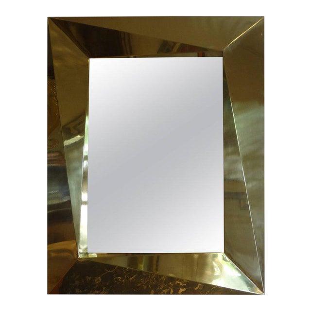 Italian Brass Modernist Geometric Mirror For Sale