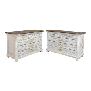 Pair Antique French Louis XVI Painted Commodes For Sale