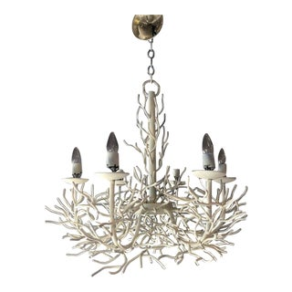 Sculptural Vintage Faux Coral Iron Chandelier For Sale