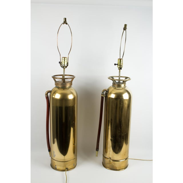 Brass Brass Fire Extinguisher Lamps - a Pair For Sale - Image 7 of 13