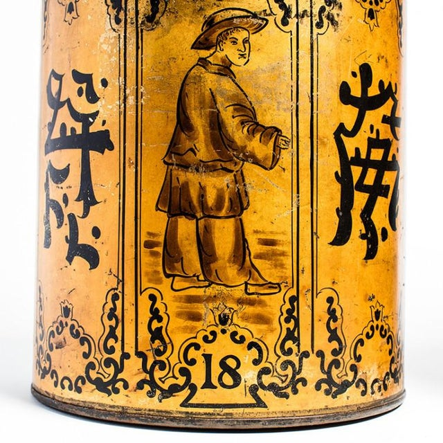 Highly unusual pair of matching, hand-painted, and hand-gilded Chinese tea tin lamps. Used to transport tea from China to...