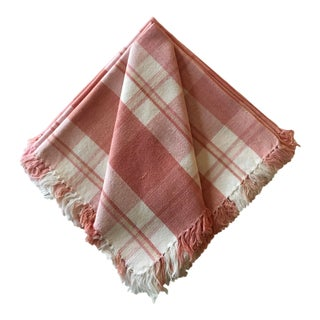 1980s Pink and White Plaid Fringed Napkins - Set of 6 For Sale