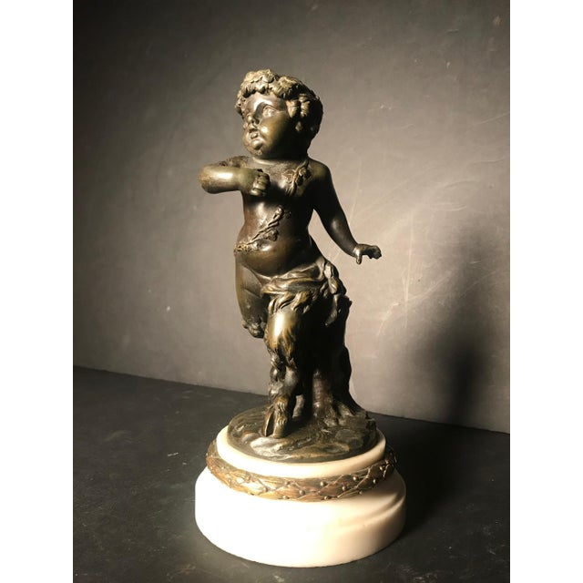 Antique 19th Century French Patinated Bronze Sculpture of a Faun, Child Satyr After Clodion For Sale - Image 12 of 12