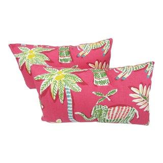 Thibaut Goa Fabric Lumbar Pillows - A Pair For Sale
