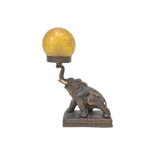Antique Bronze Elephant & Glass Globe Lamp For Sale