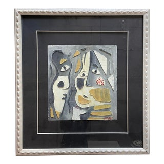 Late 20th Century Abstract Faces Mixed-Media Painting by Peter Keil, Framed For Sale