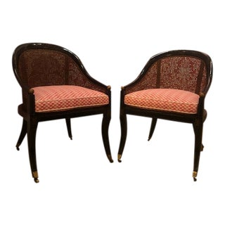 20th Century Caned Barrel Back Chairs- a Pair For Sale