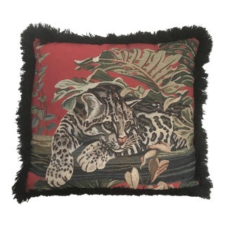 "18"" Square Red and Black Woven Panther and Leaf Design Pillow With Fringe"