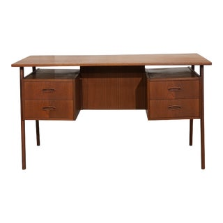 "Original Danish Mid Century Floating Teak Desk - ""Glostrup"" For Sale"
