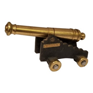 Vintage Brass & Cast Iron Cannon Souvenir For Sale
