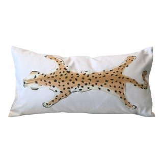 Dana Gibson Cream Leopard Lumbar Pillow For Sale