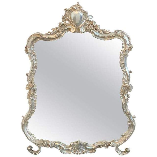 French Silver Plated Dressing Mirror For Sale - Image 12 of 12