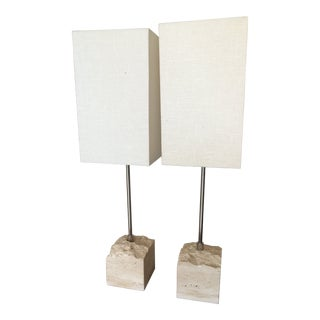 1990s Mid-Century Modern Travertine and Chrome Lamps - a Pair