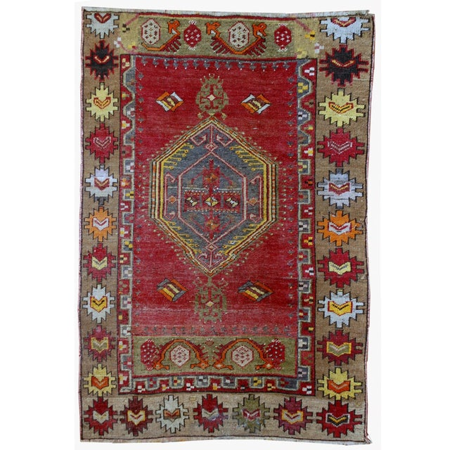 1920s Antique Turkish Anatolian Hand Made Rug - 3′1″ × 4′7″ - Image 2 of 7