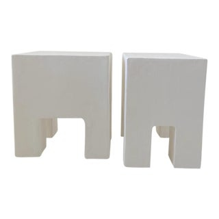 Flynn Smooth Trowel Plaster Side Tables - a Pair For Sale