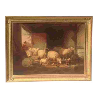Large 19th Cent. Signed Belgian Oil Painting For Sale