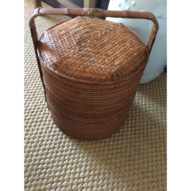 Bamboo Antique Chinese Tiered Wicker Basket For Sale - Image 7 of 7
