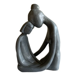 Vintage Mother and Child Sculptural Statue 1971 For Sale
