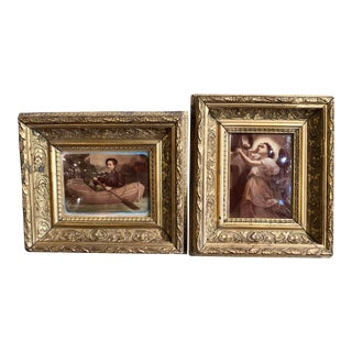 19th Century French Reverse Glass Paintings in Carved Gilt Frames - a Pair For Sale