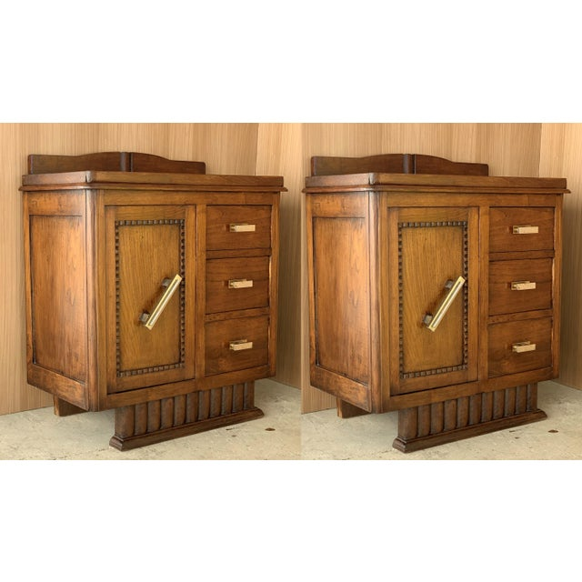 Pair of Spanish Art Deco Heavily Hand Carved Bedside Tables Nightstands, 1920s For Sale - Image 13 of 13