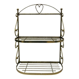Vintage Mid Century Era Metal Vanity Shelf For Sale