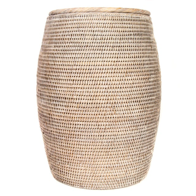 Artifacts Rattan Lidded End Table For Sale