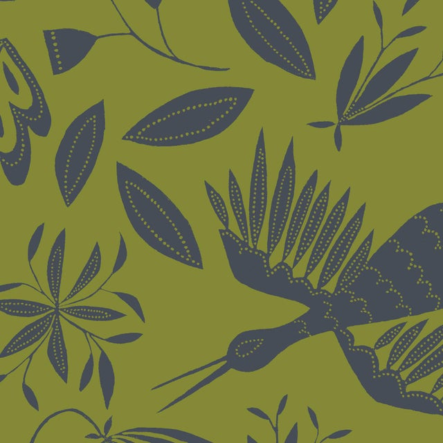 Julia Kipling Otomi Grand Wallpaper, 3 Yards, in Olive Slate For Sale