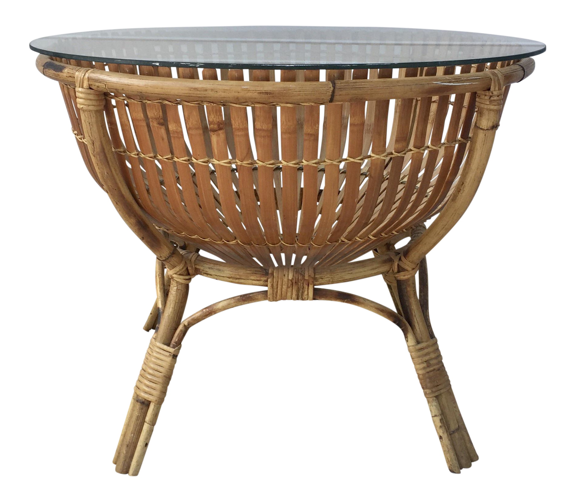 rattan side table wicker vintage rattan fish basket coffee side table used tables chairish
