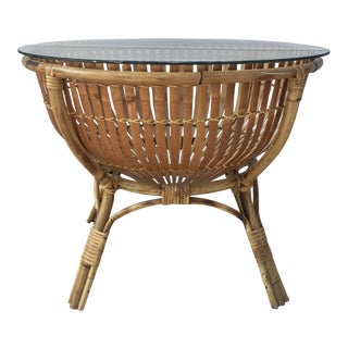 Vintage Rattan Fish Basket Coffee / Side Table For Sale