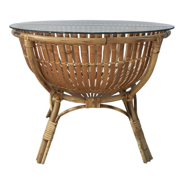 Vintage Rattan Fish Basket Coffee / Side Table - Image 1 of 6