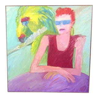 """1980s Signed Suzanne Peters """"Parrot Woman"""" Oil on Canvas Expressionist Portrait Painting For Sale"""