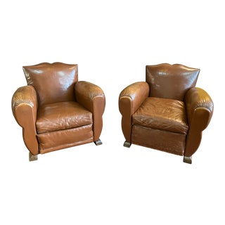 1930s Mustache French Club Chairs-a Pair For Sale