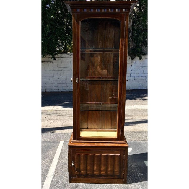 Antique English Tall and Narrow Linen Fold Vitrine Showcase Cabinet