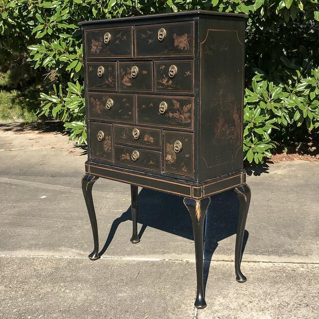 19th Century Ebonized & Hand-Painted Chinoiserie Raised Cabinet was designed as a linen or silver chest and makes a great...