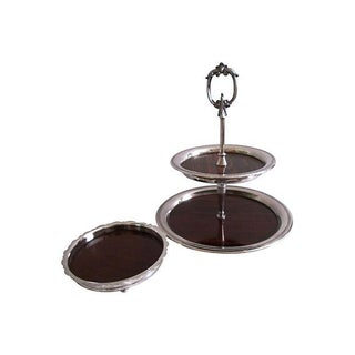Sheffield Silver Tiered Tray & Wine Bottle Coaster For Sale