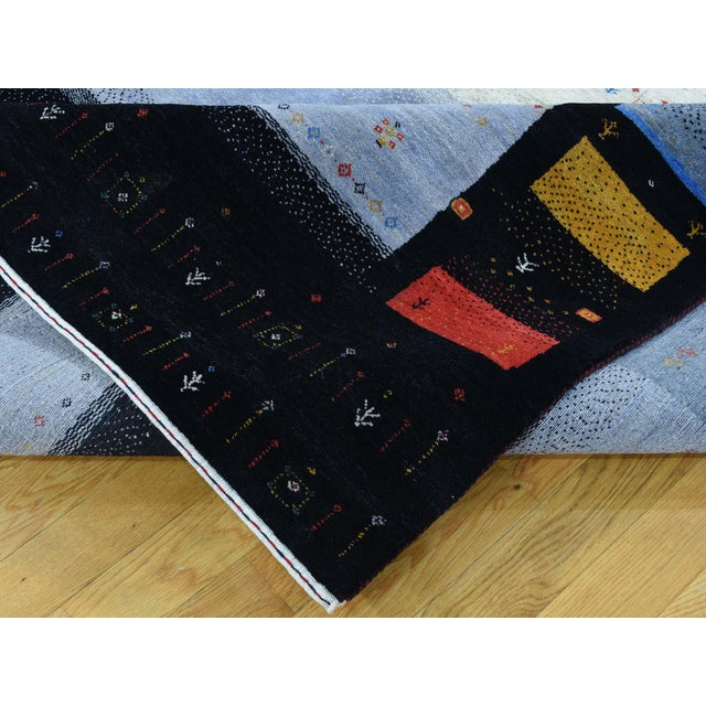 Textile Hand-Knotted Wool Folk Art Gabbeh Rug- 8′3″ × 10′1″ For Sale - Image 7 of 13