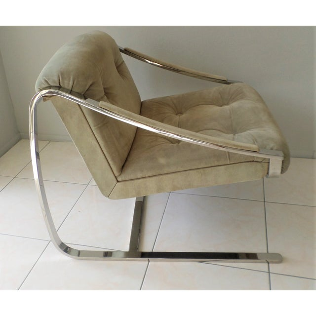 """Tan Brueton Cantilever """"Plaza"""" Chair in Polished Stainless Steel and Suede For Sale - Image 8 of 8"""