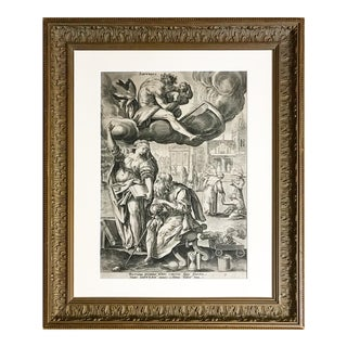 """16th C Old Master Engraving """"Saturn"""" by Adriaen Collaert For Sale"""