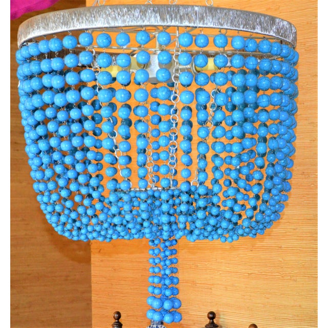 Arteriors Home Turquoise Beaded Four Light Chandelier - Image 6 of 11