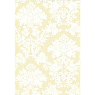 Schumacher Tierni Damask Wallpaper in Blush For Sale