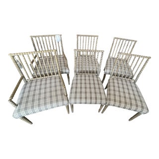 Set of 6 Julian Chichester Bobbin Dining Chairs custom Fabric Rustic Oak Frame 2 arm chairs - 4 side chairs For Sale