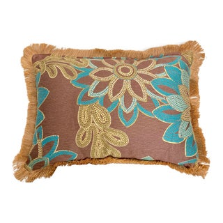 Large Rectangular Brown and Turquoise Floral Pillow With Jute Fringe For Sale