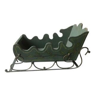 Gustavian Green Wood Sleigh Figurine For Sale