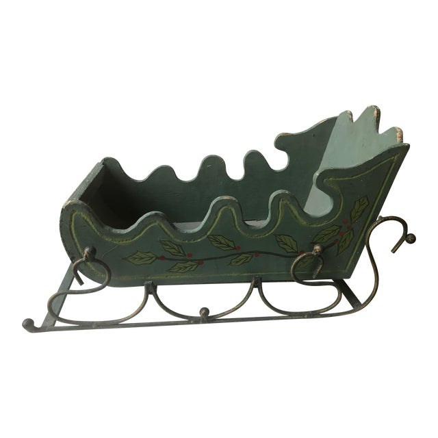 Gustavian Green Wood Sleigh Figurine For Sale