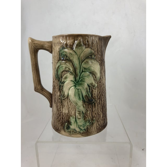 Late 20th Century Tree Motif Majolica Pitcher For Sale - Image 5 of 5