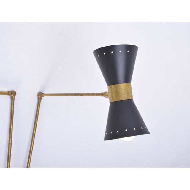 Gold Italian Two-Armed Adjustable Metal Wall Lamp With Brass Elements For Sale - Image 8 of 9