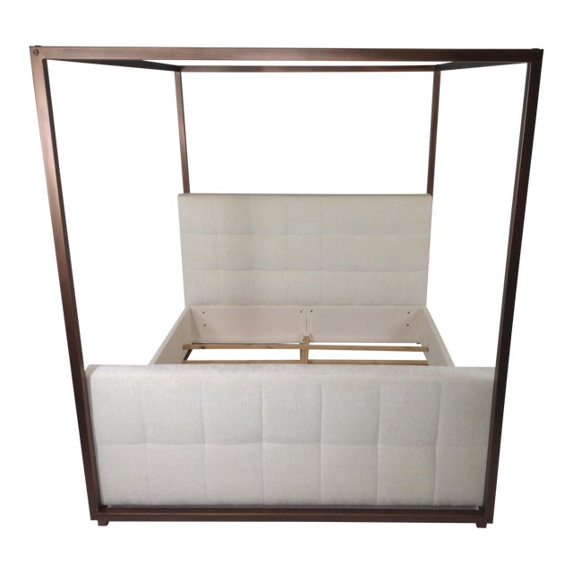 Modern Canopy Bed With Copper Finish and Chenille Fabric For Sale