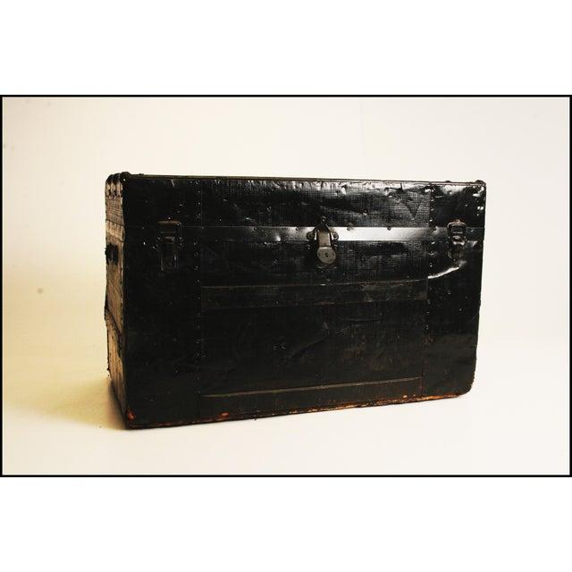 Victorian Antique Black Steamer Trunk - Image 2 of 11