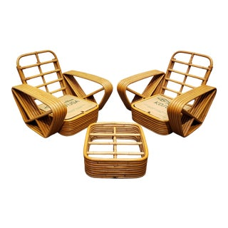Pair of Paul Frankl Style Vintage Rattan Armchairs and Ottoman For Sale